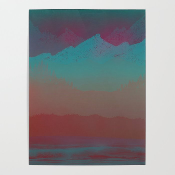 Ombre Mountainscape (Sunset Colors) Poster