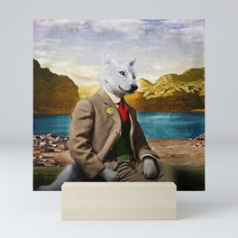 Mr. Wolf Relaxing at the Lake Mini Art Print