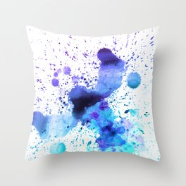Dark Blue and Aqua Watercolor Paint Splatter on White Throw Pillow