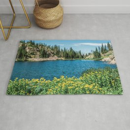 Yellow Flower Lake // Beautiful Daylight Evergreen Mountain Landscape Photograph Rug