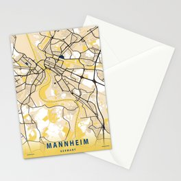 Mannheim Yellow City Map Stationery Cards