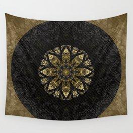 Boho chic Gold Lace Black  Flower Mandala Wall Tapestry