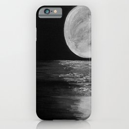 Full Moon, Moonlight Water, Moon at Night Painting by Jodi Tomer. Black and White iPhone Case
