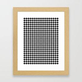 Small Diamonds - White and Black Framed Art Print