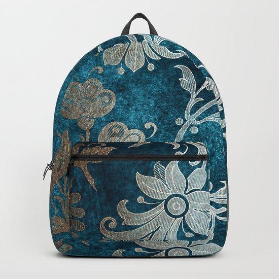 Aqua Teal Vintage Floral Damask Pattern Backpack