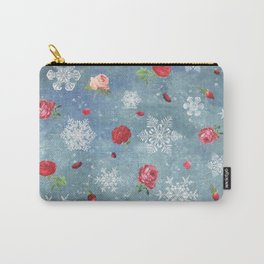 Snow and Roses Carry-All Pouch