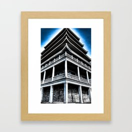Pagoda In Blue Framed Art Print