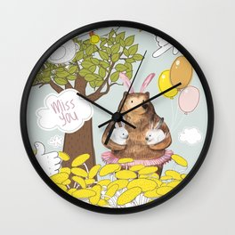 Cute Miss you card design. Wall Clock