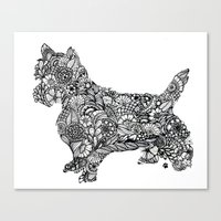 terrier Canvas Prints featuring Terrier by PawPrints