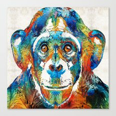 Colorful Chimp Art - Monkey Business - By Sharon Cummings Canvas Print