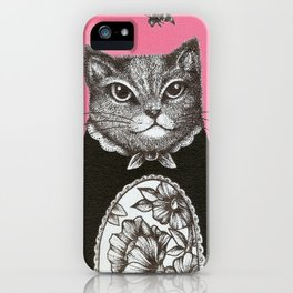 Pink Cat - Ink and acrylic cat art iPhone Case