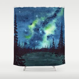 """""""Green Milky Way"""" watercolor galaxy painting Shower Curtain"""