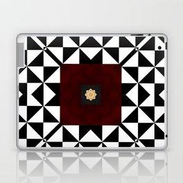 Ruby Red Marble w/ Blk & White Geometrica Pattern Insert Laptop & iPad Skin