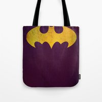 batgirl Tote Bags featuring Batgirl by Fries Frame