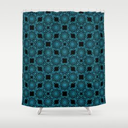 Turquoise and Black Flower Doodle with Digital Glitter Effect -Graphic Design Pattern Shower Curtain