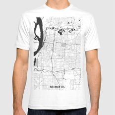 Memphis Map Gray Mens Fitted Tee White MEDIUM