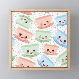 Cute blue pink green Kawai cup, coffee tea with pink cheeks and winking eyes, polka dot background Framed Mini Art Print