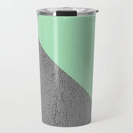 Geometrical Color Block Diagonal Cement vs mint diagonal Travel Mug