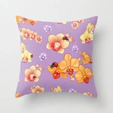 Orchids & Ladybirds Throw Pillow