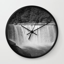 Cumberland Falls in Black and White Wall Clock