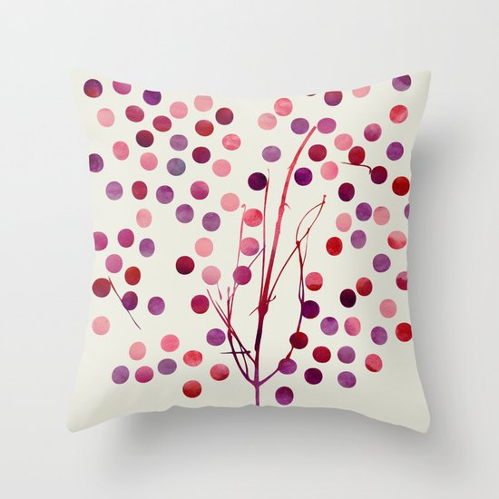 Tree of Life_Berry by Jacqueline & Garima Throw Pillow