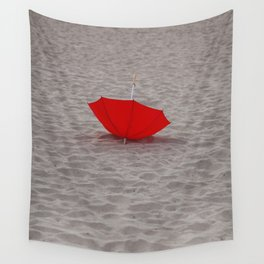 Lost red Umbrella Wall Tapestry