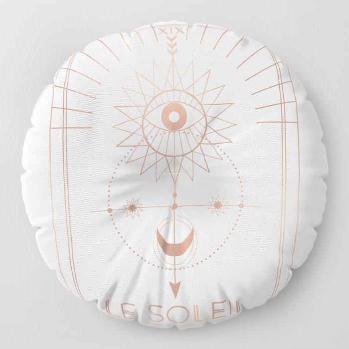Le Soleil or The Sun Tarot White Edition Floor Pillow