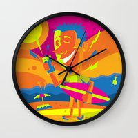 surfer Wall Clocks featuring Surfer by Roberlan Borges