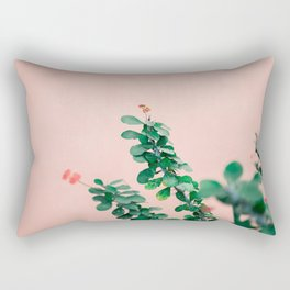 Floral photography print | Green on coral | Botanical photo art Rectangular Pillow