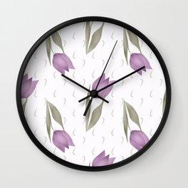 Lilac tulips Wall Clock
