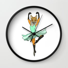 Fox Ballerina Tutu Wall Clock