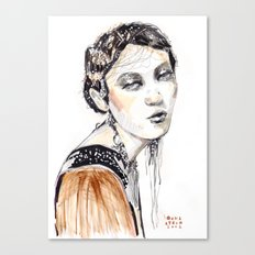 Fashion illustration with golden watercolors Canvas Print