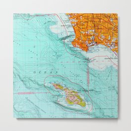 Long Beach colorful old map Metal Print