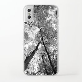 Looking Up in Black and White Clear iPhone Case