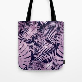 Tropical Palm Leaves Pattern: Heather Lilac-Pink Tote Bag