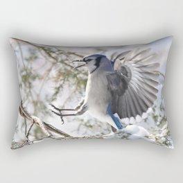 """""""Get Off My Branch!"""" Blue Jay Rectangular Pillow"""