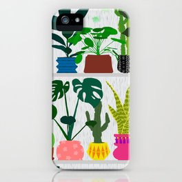 Plants on the Shelf in Gray + White Wood iPhone Case