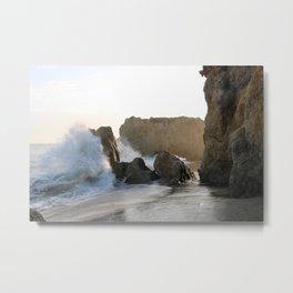 Wave crashing on rocky beach Metal Print