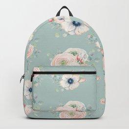 Dog Rose Pattern Mint Backpack