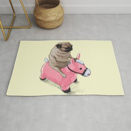 Pug and Pink Horse Rug