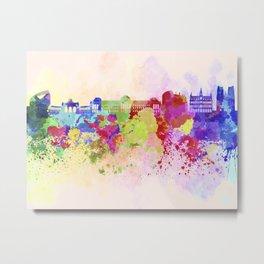 Brussels skyline in watercolor background Metal Print