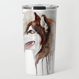 Brown Husky Profile Portrait Travel Mug