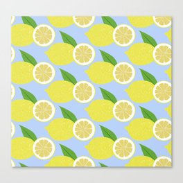 Lemon fruits on blue Canvas Print