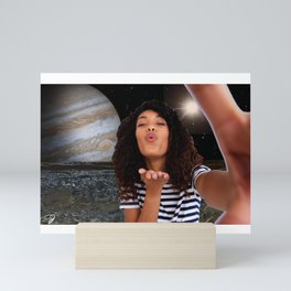 With Love From Jupiter - Collage Art - Space Selfie Galaxy Kisses Mini Art Print
