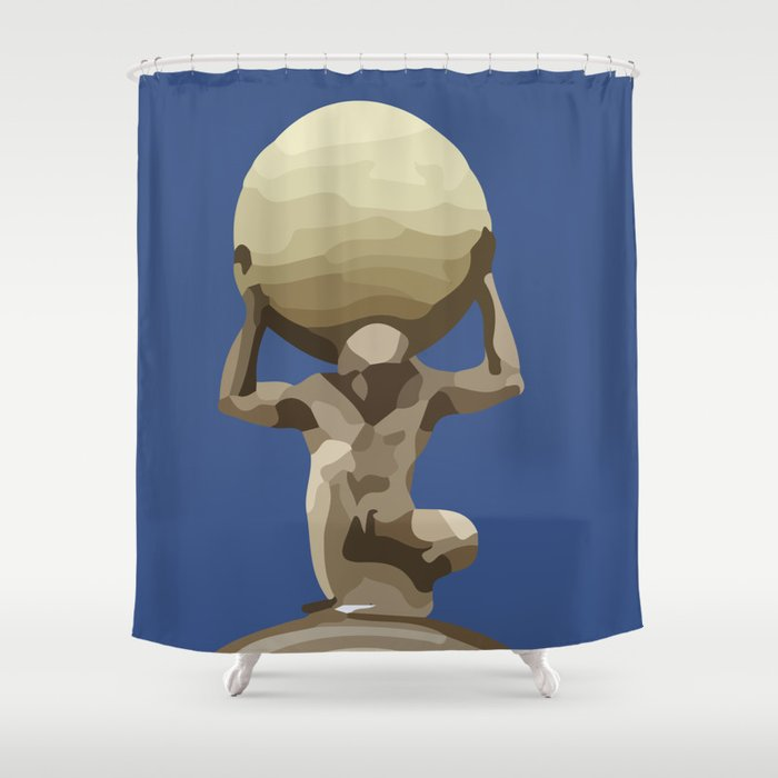 Man with Big Ball Illustration dark blue Shower Curtain