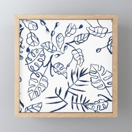 Tropical Plant Boho Chinoiserie Blue and White Framed Mini Art Print