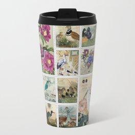 Coastal Bird Postal Collage Travel Mug
