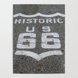Route 66 sign on the road Poster