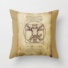 Vitruvian Cat Throw Pillow