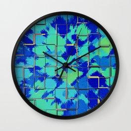 Abstract Squares Blue & Green Wall Clock